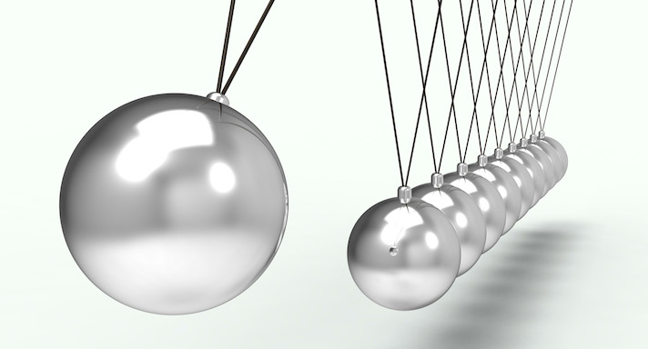 The Newton's cradle is a good example of Newton's third law.
