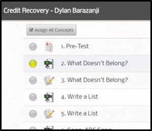Credit Recovery - Assign all Concepts