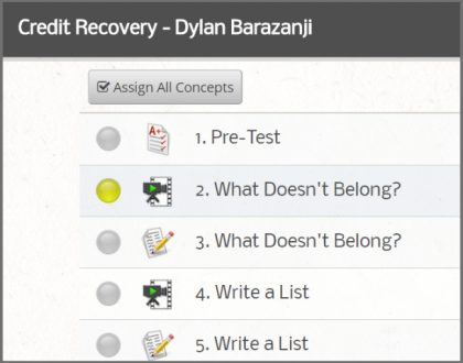 Credit Recovery - Assign All Feature