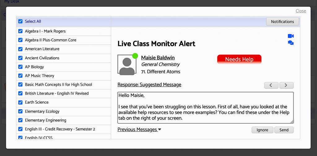 Acellus Live Class Monitor screenshot